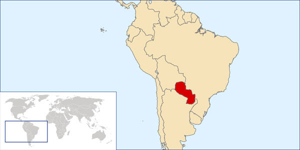 Paraguay location map. Location map of Paraguay.