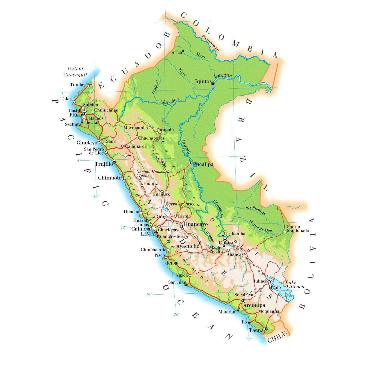 Detailed Physical Map Of Peru With Roads And Cities Peru Detailed - Physical map of peru