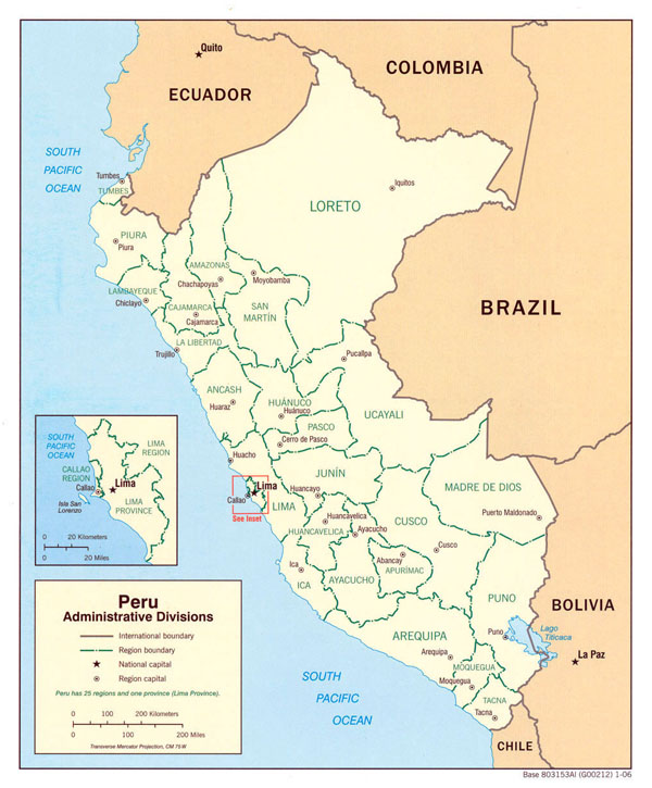 Large detailed administrative map of Peru.