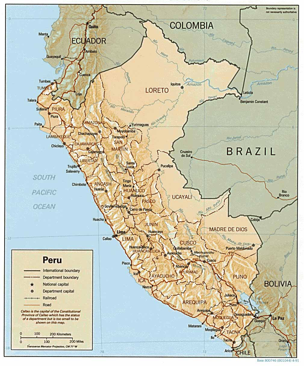 Large Detailed Relief And Political Map Of Peru Peru Large - Peru political map