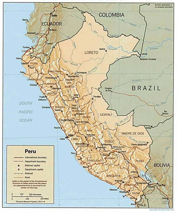 Large detailed relief and political map of Peru.