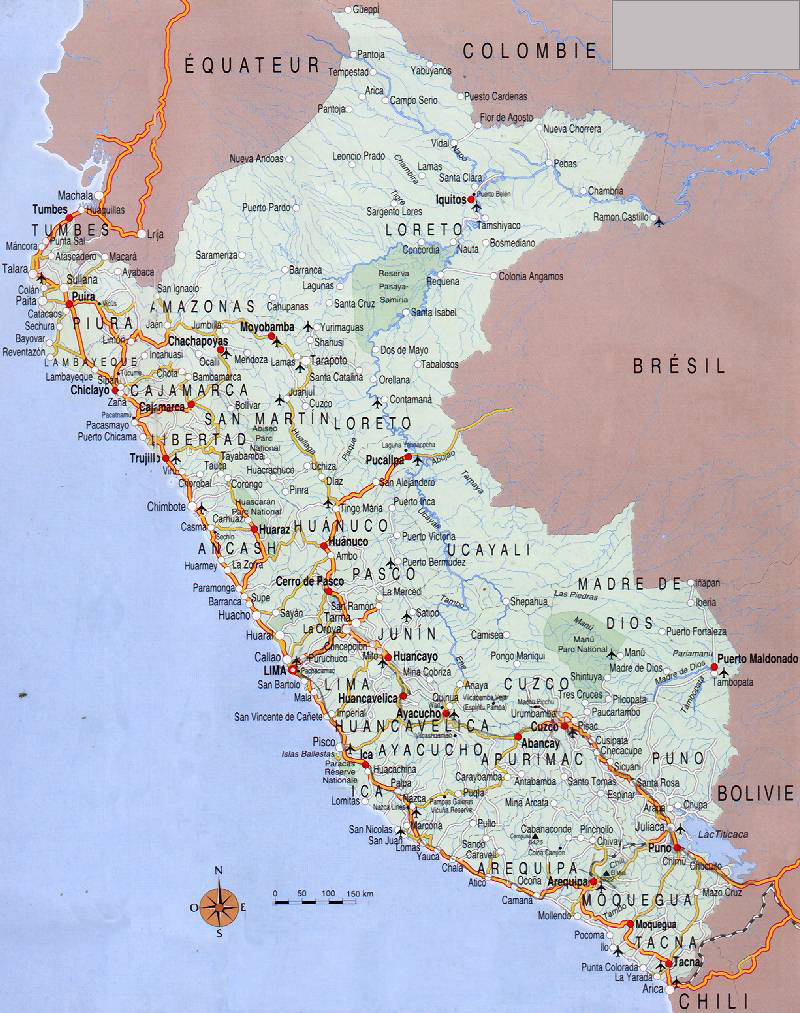 Large Detailed Road Map Of Peru With Airports Peru Large Detailed - Road map of peru
