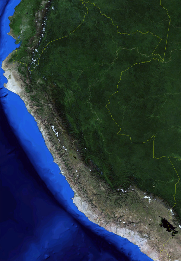 Large detailed satellite map of Peru. Peru large detailed satellite map.