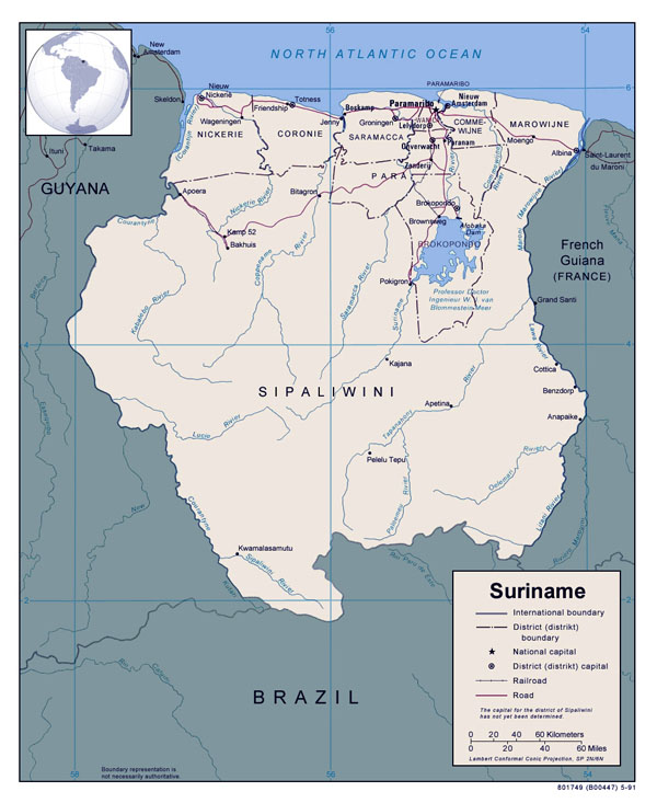 Full political map of Suriname. Suriname full political map.