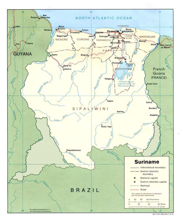 Large detailed administrative and political map of Suriname.