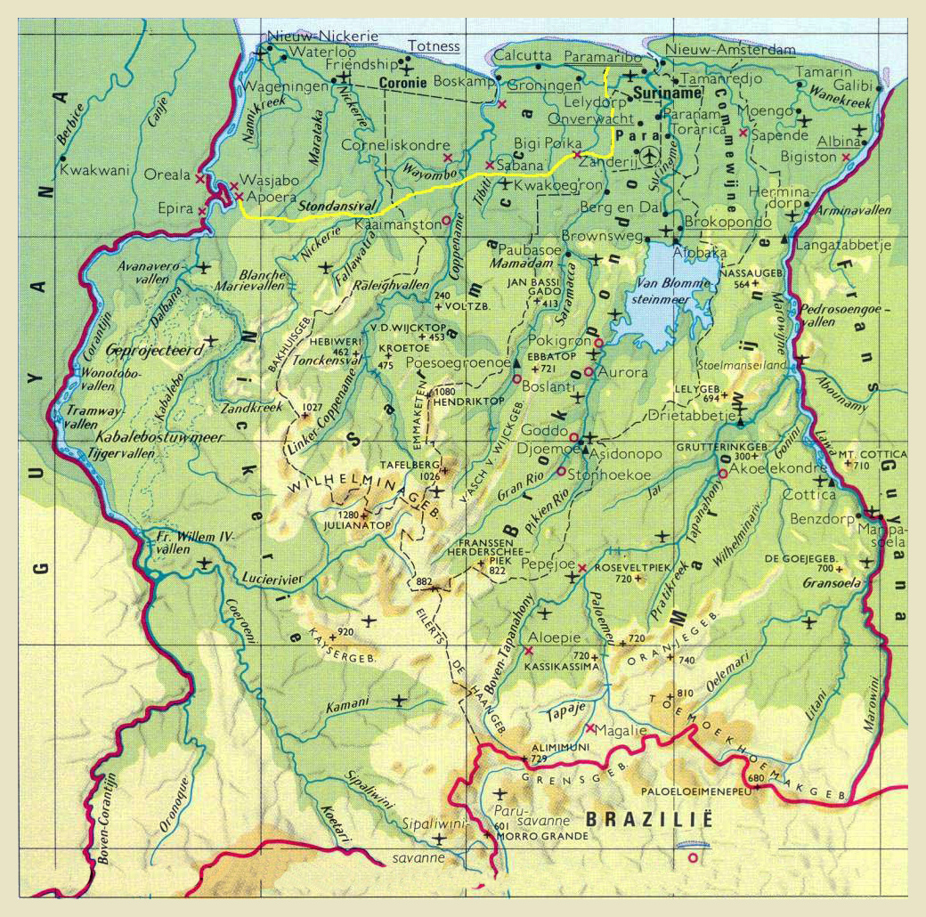Surinam World Map.Large Detailed Airports Map Of Suriname Suriname Large Detailed