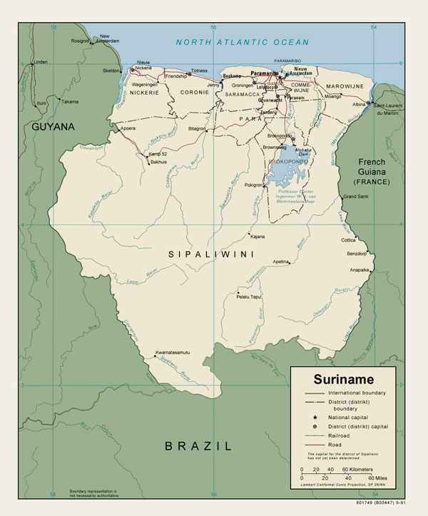 Large detailed political and administrative map of Suriname.