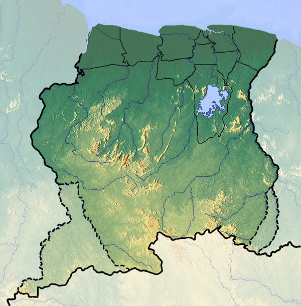 Large detailed relief map of Suriname. Suriname large detailed relief map