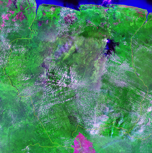 Large detailed satellite map of Suriname. Suriname large detailed satellite map.