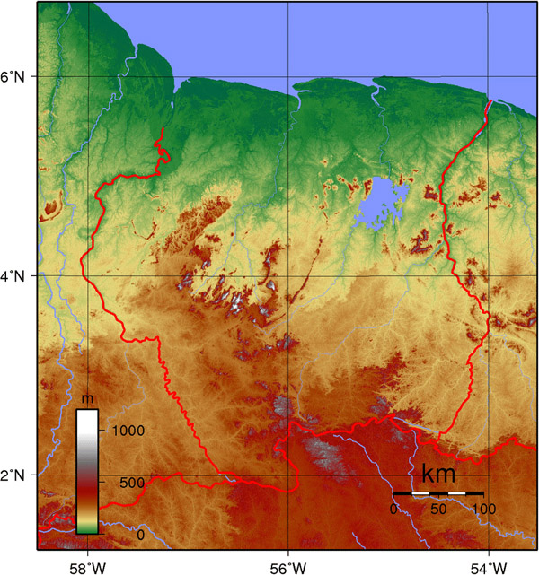 Large detailed topography map of Suriname.