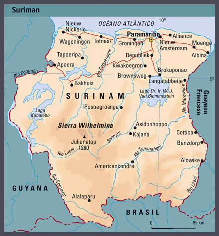 Physical map of Suriname with cities. Suriname physical map with cities.