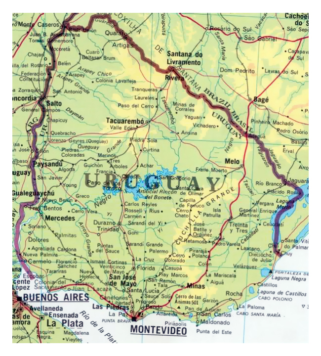 Detailed map of Uruguay with cities. Uruguay detailed map with cities.