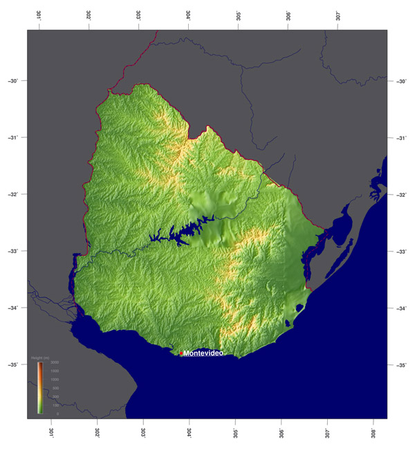 Detailed physical map of Uruguay. Uruguay detailed physical map.