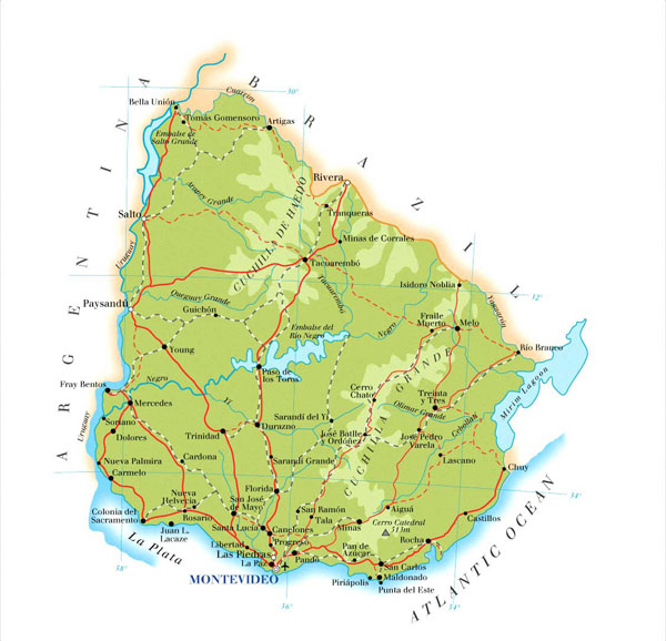 Detailed physical map of Uruguay with roads. Uruguay detailed physical map with roads.