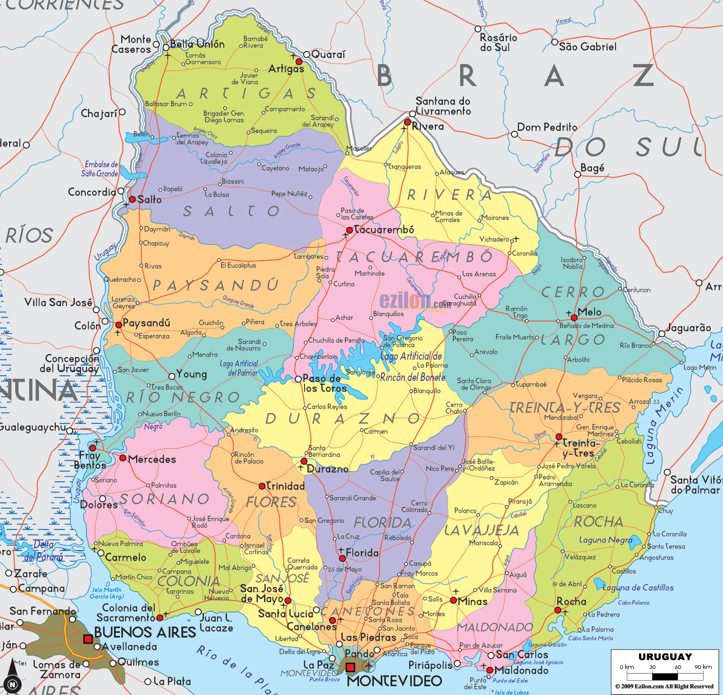 Large Detailed Political And Administrative Map Of Uruguay Uruguay