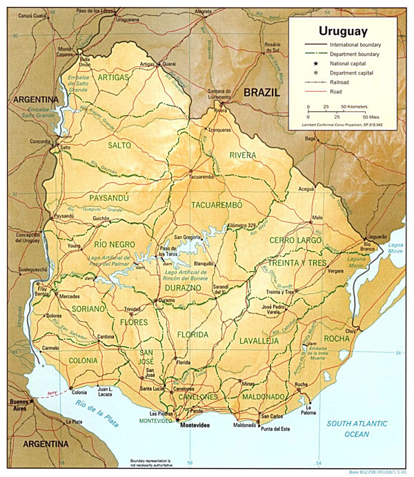 Large detailed relief and political map of Uruguay with roads and cities.