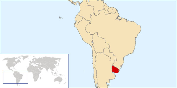 Uruguay location map. Map of Uruguay location.