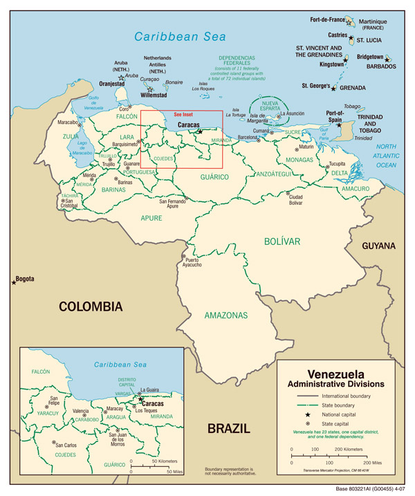 Detailed political and administrative map of Venezuela.