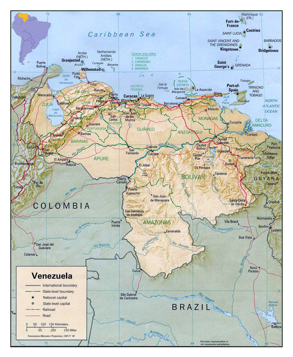 Detailed political and administrative map of Venezuela with relief, roads and cities.