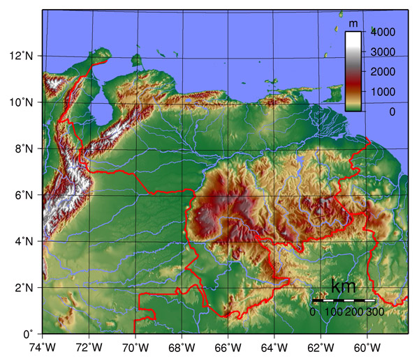 Detailed Venezuela physical map. Detailed physical map of Venezuela.