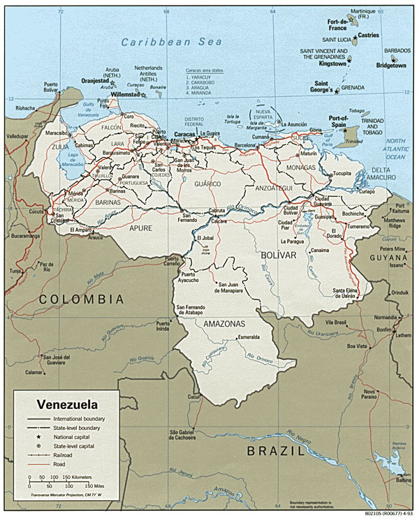 Large detailed administrative and political map of Venezuela with roads and cities.