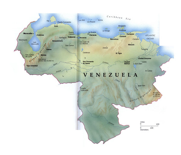 Large detailed map of Venezuela with relief and major cities.