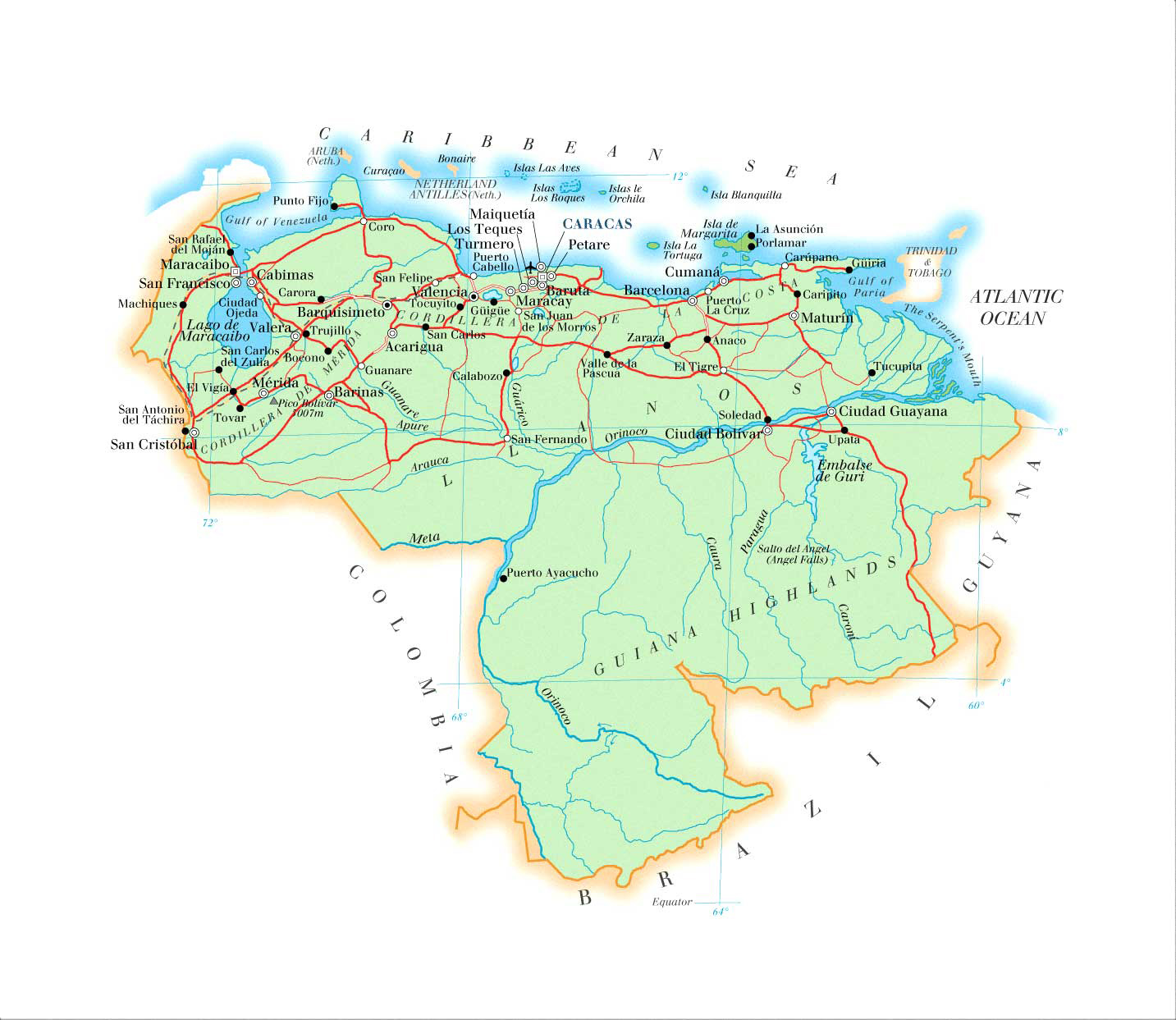 Large Detailed Physical Map Of Venezuela Venezuela Large Detailed - Physical of map venezuela