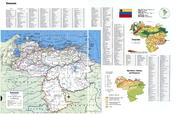 Large detailed political and administrative map of Venezuela with all cities.