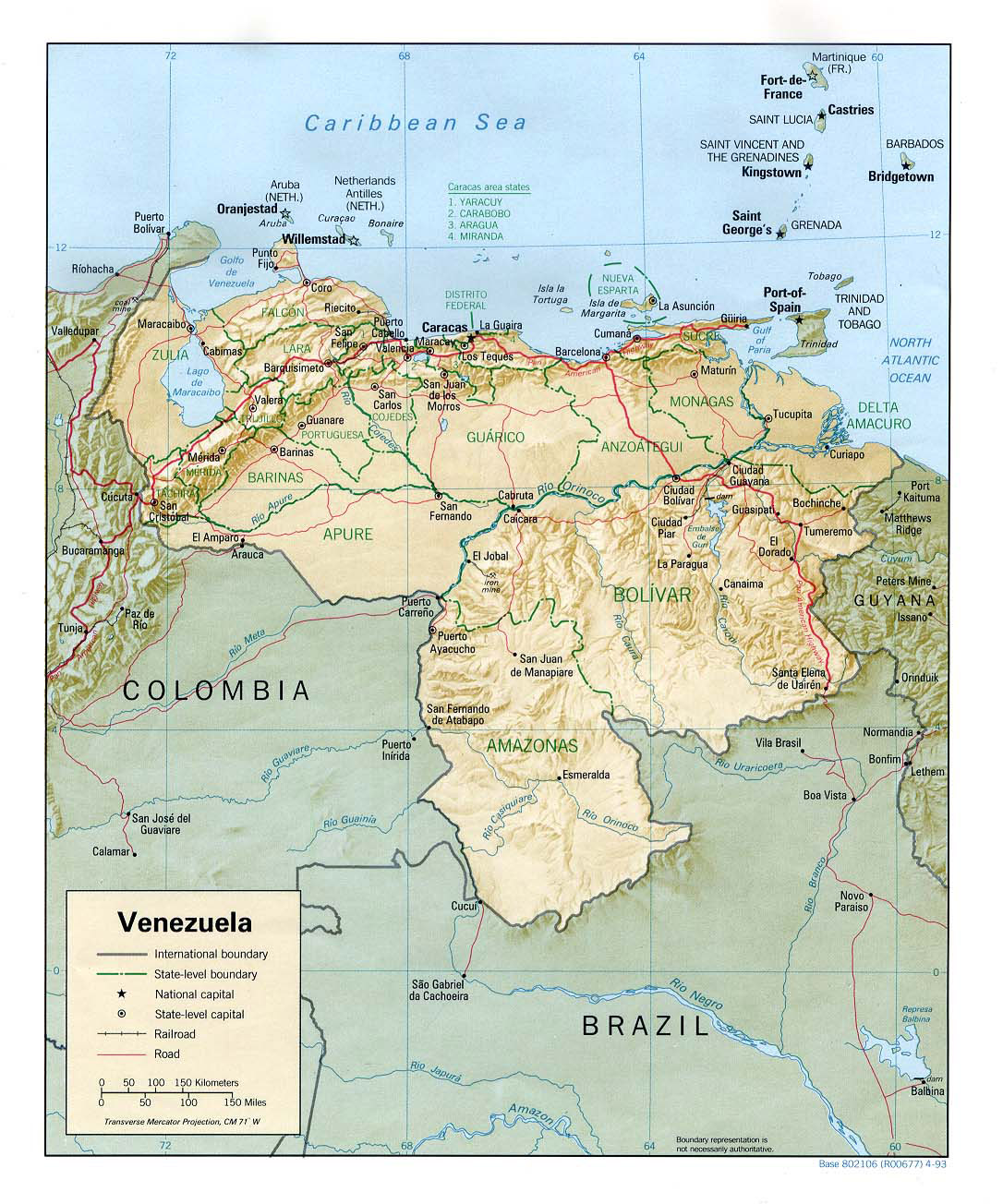 Large detailed relief and political map of Venezuela with cities