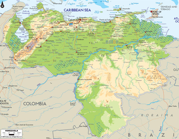 Large detailed Venezuela physical map with cities and roads.