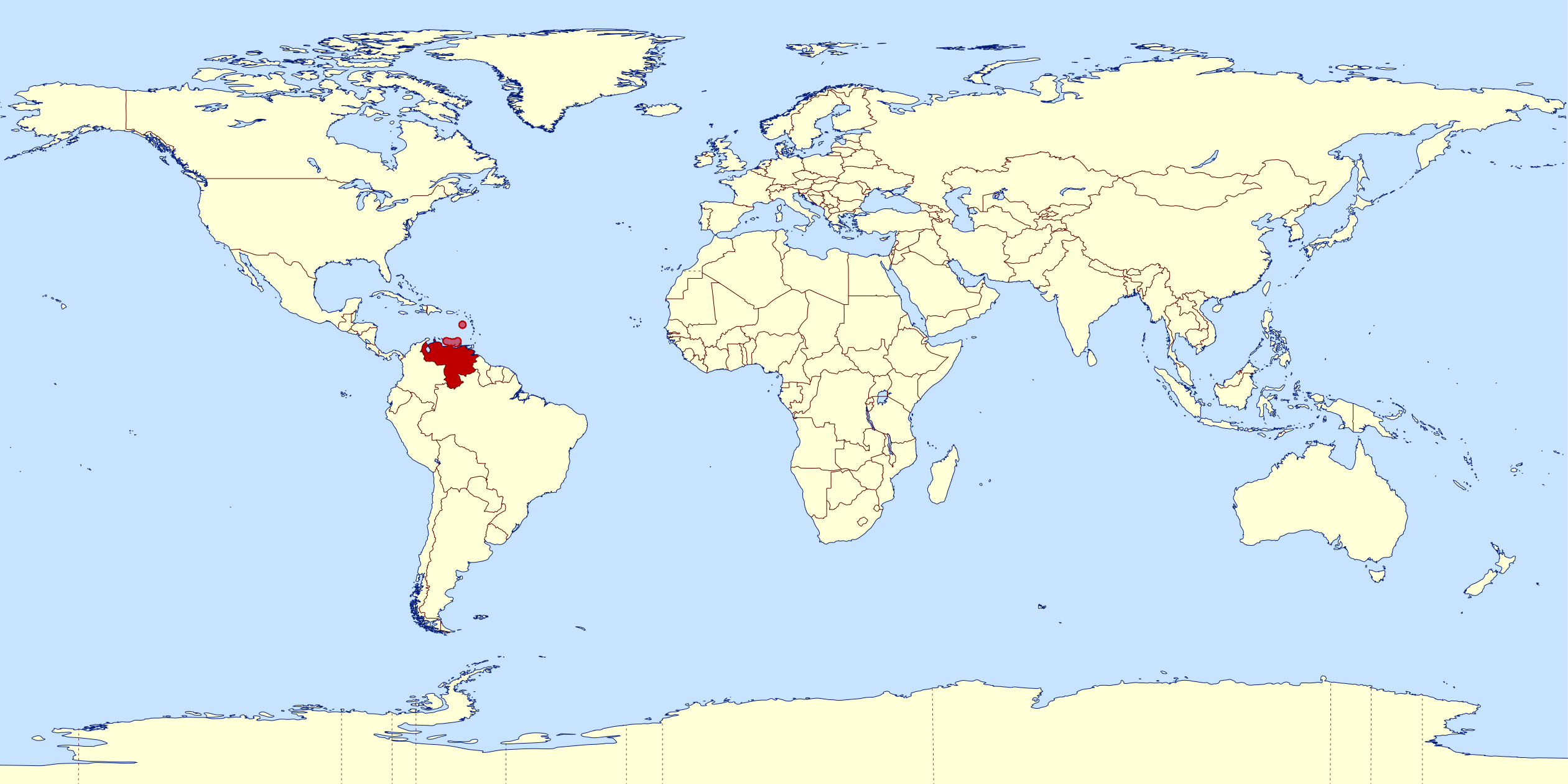 Large location map of Venezuela in the World | Vidiani.com | Maps of ...