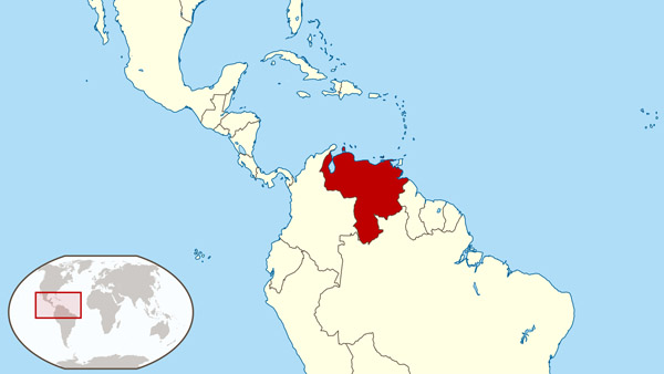Large location map of Venezuela in South America.
