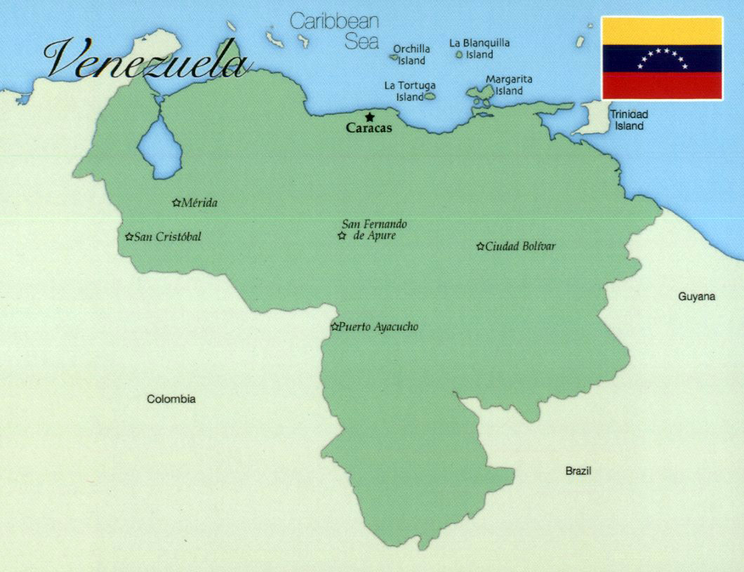 Large map of Venezuela with major cities Venezuela large map with