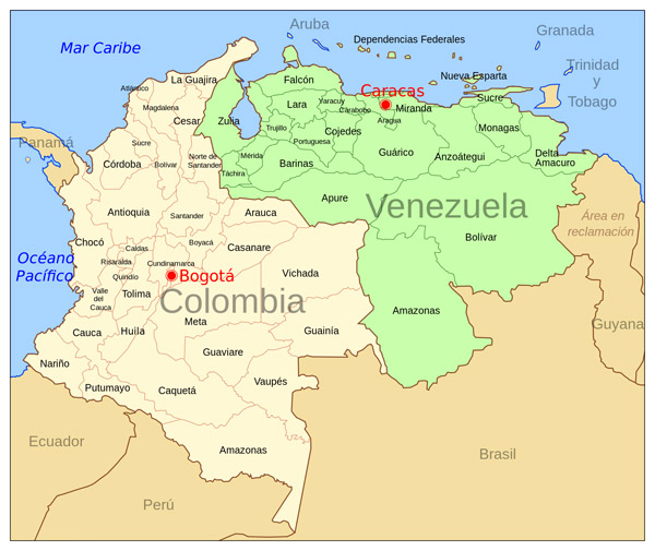 Large political map of Colombia and Venezuela with capitals.