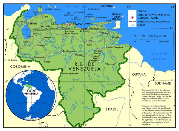 Large political map of Venezuela with roads and major cities.
