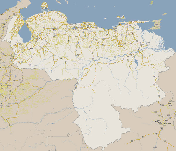 Large road map of Venezuela with cities. Venezuela large road map with cities.