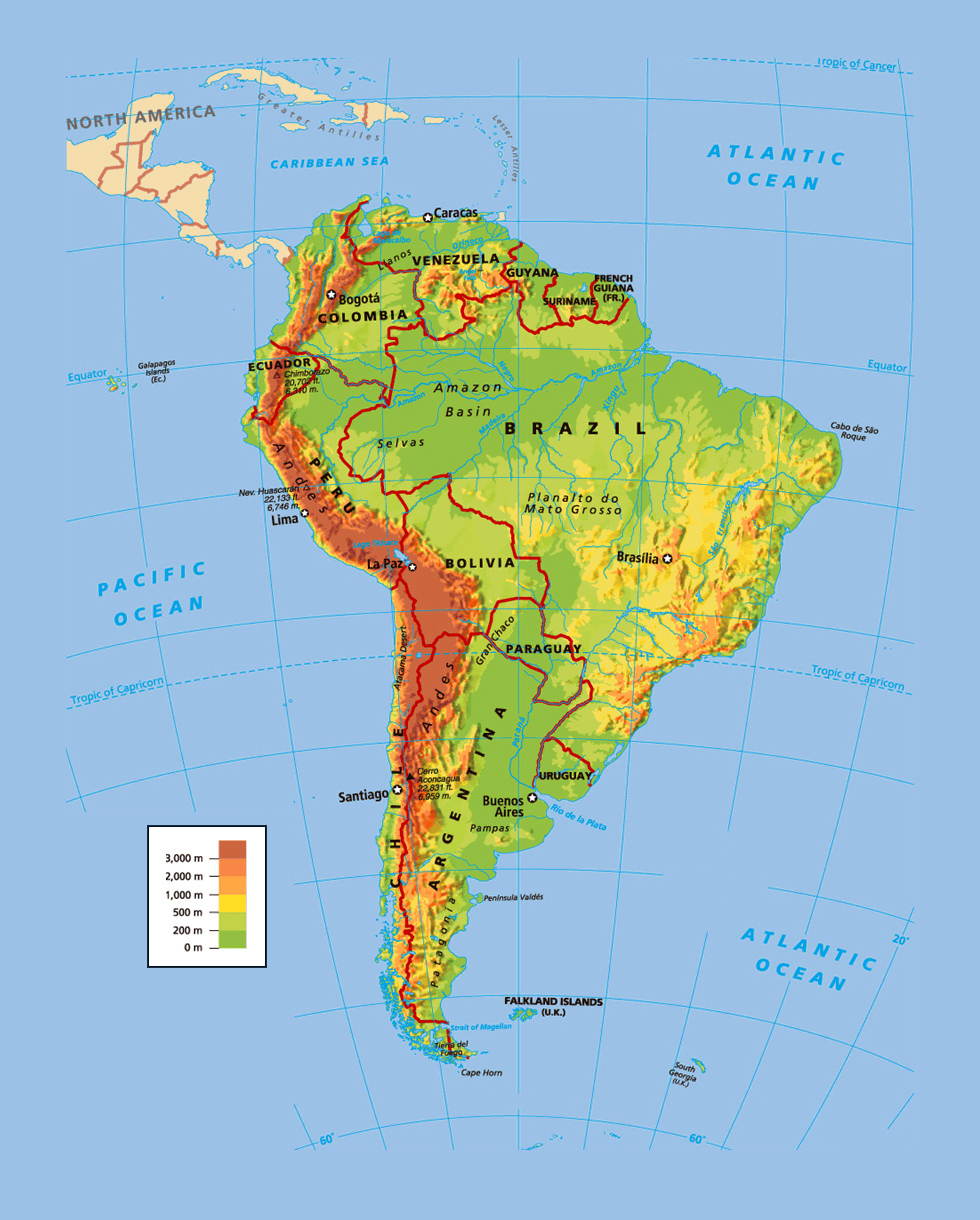 Political and physical map of South America South America political