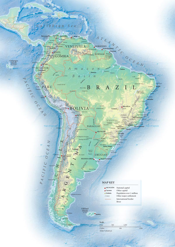South America detailed topographical map.