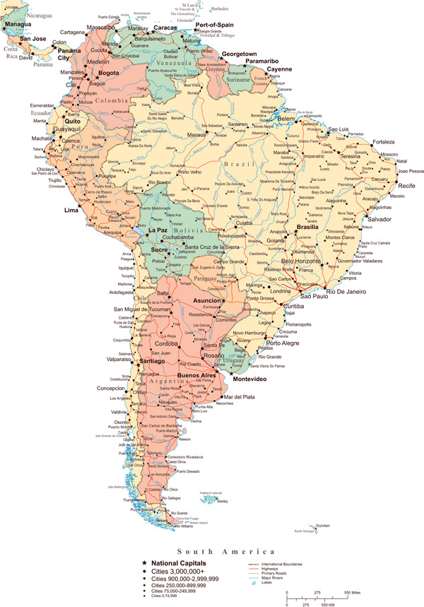 South America large detailed political map with all roads and cities.