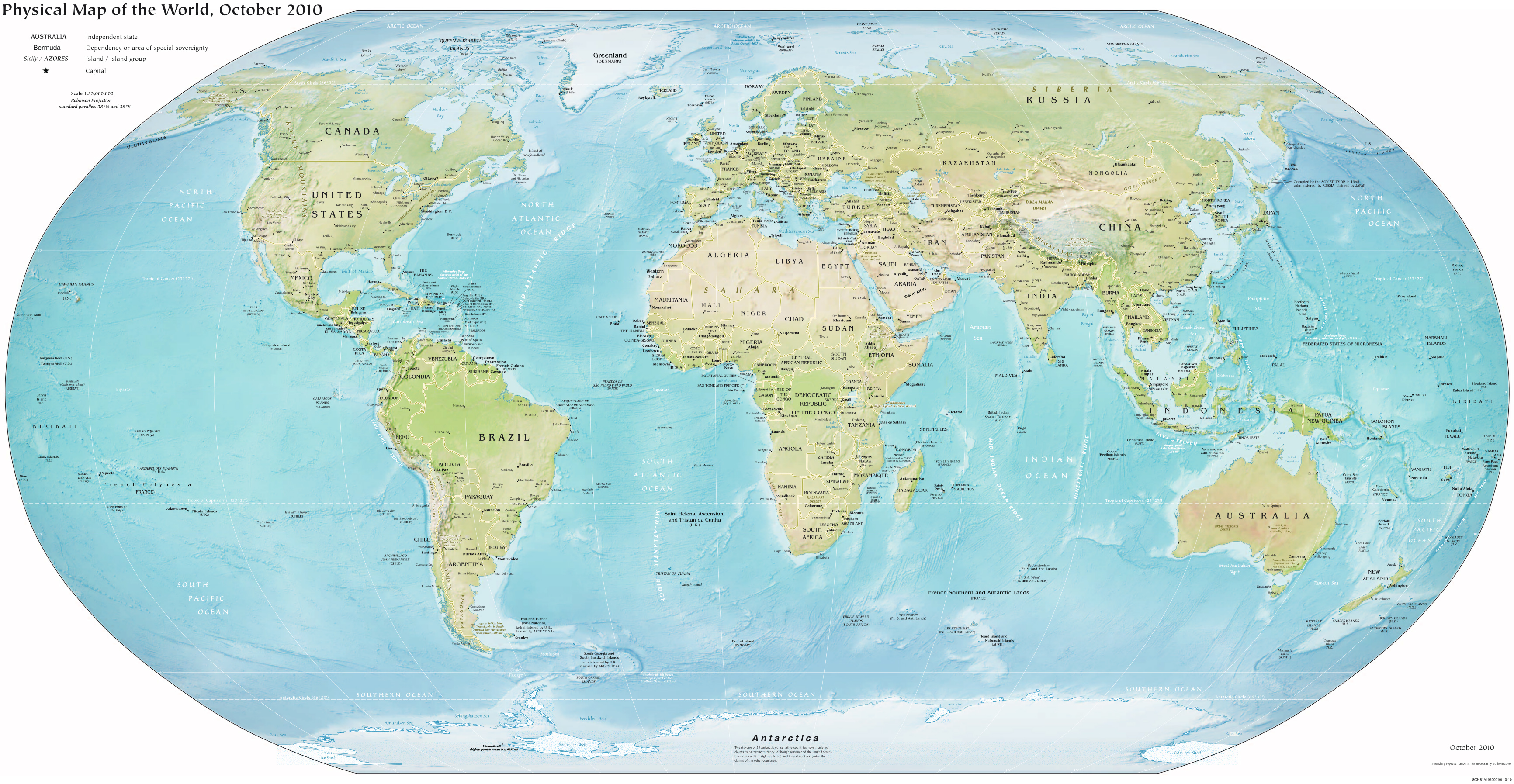 World large detailed political and relief map Large detailed political and r