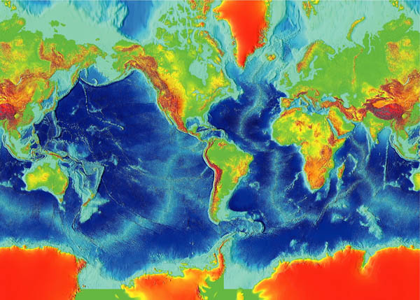 Detailed map of the Earth fractured surface.