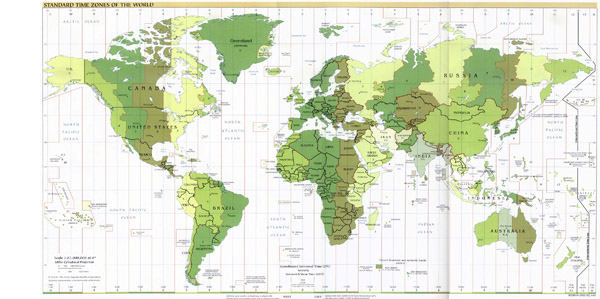 Detailed map of time zones of the World 2001 issue.