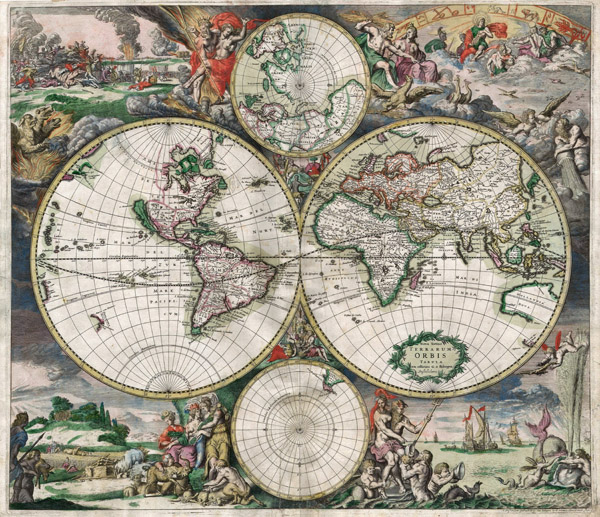 Large detailed antique political map of the World since 1689 year.