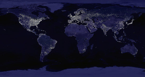Large detailed map of Earth at Night.
