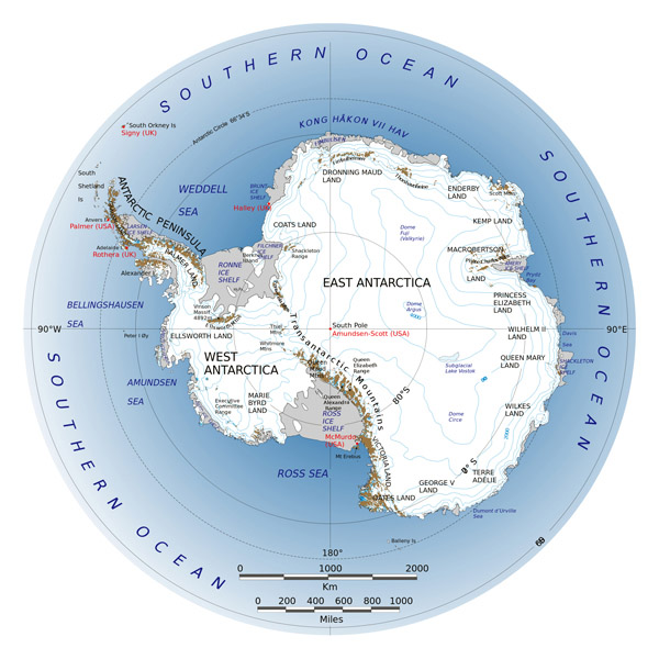Large detailed map of Antarctica.