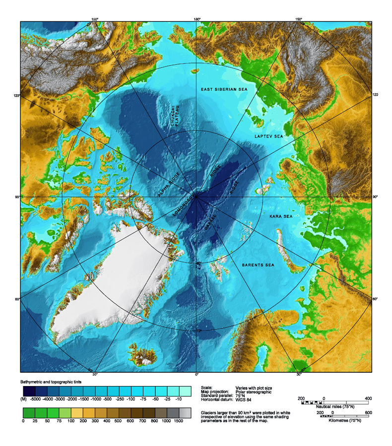 Large detailed physical map of Arctic Ocean Arctic Ocean large