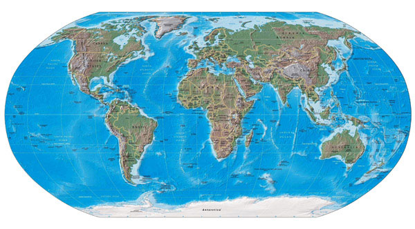 Large detailed political and relief map of the World.