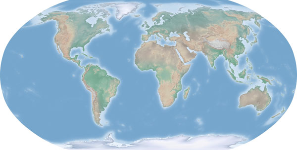 Large detailed relief map of the World.