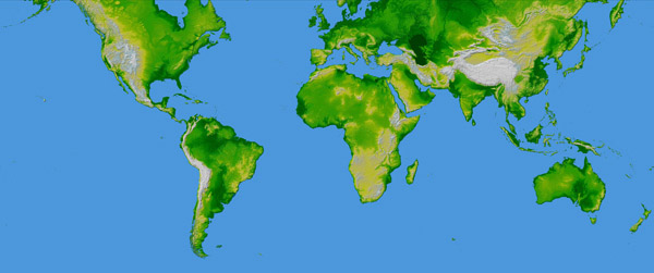 Large detailed topographical map of the World.