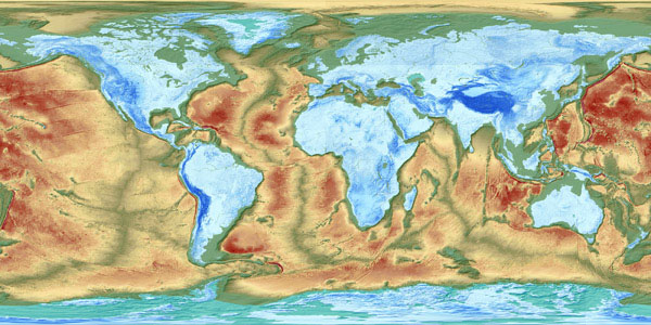 Map of the Earth's fractured surface.